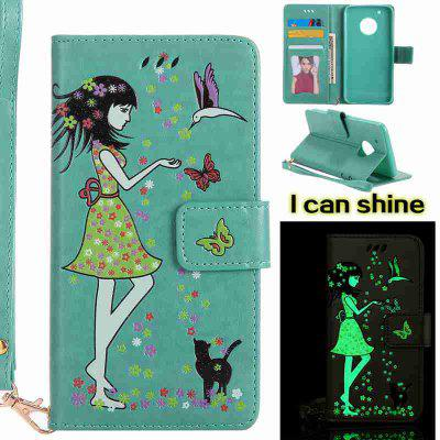 Buy FERN Women Cat Luminous Painted Pu Phone Case for Moto G5 Plus for $7.31 in GearBest store