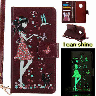 Buy BROWN Women Cat Luminous Painted Pu Phone Case for Moto G5 Plus for $8.41 in GearBest store