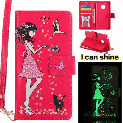 Buy ROSE MADDER Women Cat Luminous Painted Pu Phone Case for Moto G5 for $7.00 in GearBest store