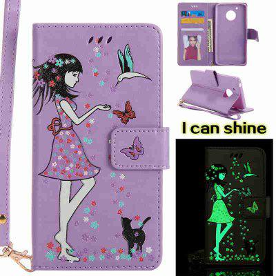 Buy RADIANT Women Cat Luminous Painted Pu Phone Case for Moto G5 for $5.13 in GearBest store