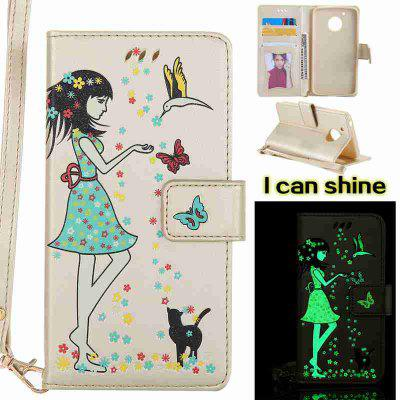 Buy MARIGOLD Women Cat Luminous Painted Pu Phone Case for Moto G5 for $7.04 in GearBest store