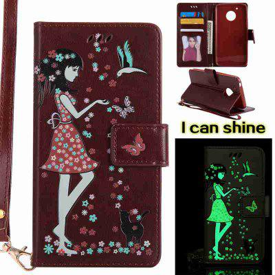 Buy BROWN Women Cat Luminous Painted Pu Phone Case for Moto G5 for $8.09 in GearBest store