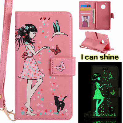 Buy PINK Women Cat Luminous Painted Pu Phone Case for Moto G5 for $8.09 in GearBest store