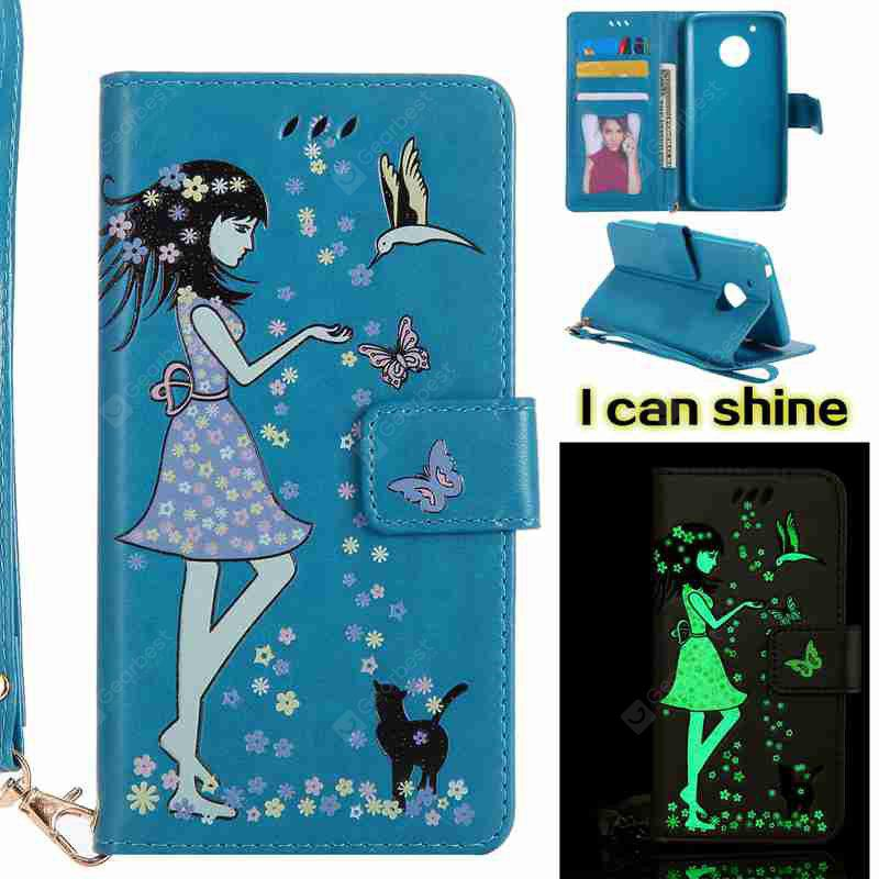 CORNFLOWER Women Cat Luminous Painted Pu Phone Case for Moto G5