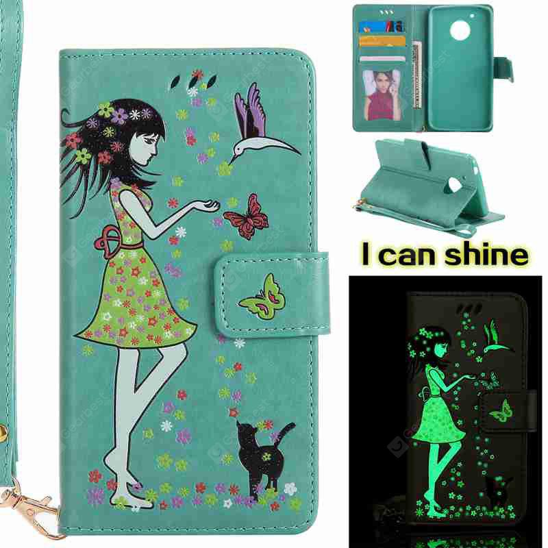 FERN Women Cat Luminous Painted Pu Phone Case for Moto G5