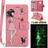 Women Cat Luminous Pintado Pu Phone Case para Moto G5 - OSTRA