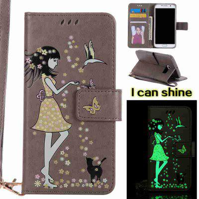 Buy OYSTER Women Cat Luminous Painted Pu Phone Case for Samsung Galaxy S6 Edge for $7.02 in GearBest store