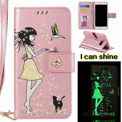 Buy ROSE GOLD Women Cat Luminous Painted Pu Phone Case for Samsung Galaxy S6 Edge for $7.02 in GearBest store