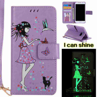 Buy RADIANT Women Cat Luminous Painted Pu Phone Case for Samsung Galaxy S6 Edge for $7.02 in GearBest store