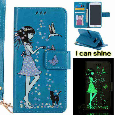 Buy CORNFLOWER Women Cat Luminous Painted Pu Phone Case for Samsung Galaxy S6 for $6.96 in GearBest store