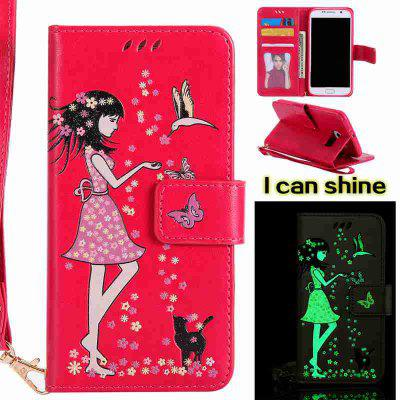 Buy ROSE MADDER Women Cat Luminous Painted Pu Phone Case for Samsung Galaxy S6 for $6.96 in GearBest store