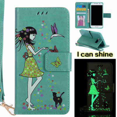 Buy FERN Women Cat Luminous Painted Pu Phone Case for Samsung Galaxy S6 for $6.96 in GearBest store