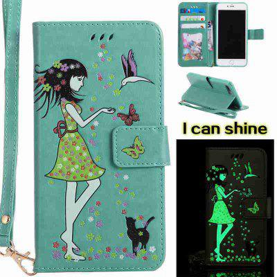 Buy FERN Women Cat Luminous Painted Pu Phone Case for iphone 6 6S for $6.30 in GearBest store
