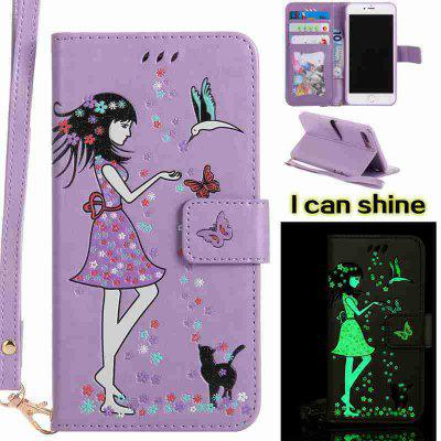 Buy RADIANT Women Cat Luminous Painted Pu Phone Case for iphone 6 6S for $6.30 in GearBest store