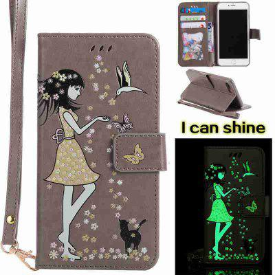 Buy OYSTER Women Cat Luminous Painted Pu Phone Case for iphone 6 6S for $6.30 in GearBest store