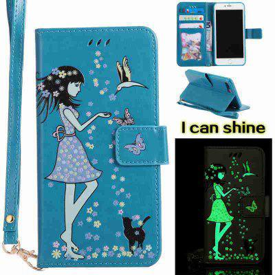 Buy CORNFLOWER Women Cat Luminous Painted Pu Phone Case for iphone 6 6S for $6.30 in GearBest store