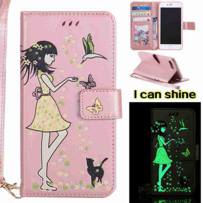 Buy ROSE GOLD Women Cat Luminous Painted Pu Phone Case for iphone 6 6S for $6.30 in GearBest store
