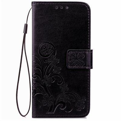 Yc Lucky Clover Holster Leaf Card Lanyard Pu Leather Case for Samsung J1
