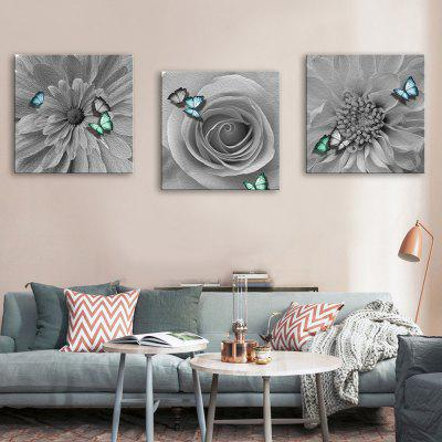 Buy GRAY Yc Special Design Frameless Paintings Gray Butterfly of 3 for $52.14 in GearBest store