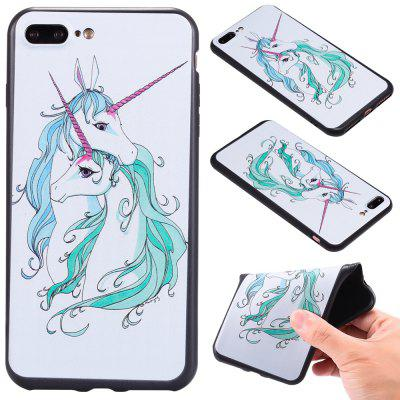 3D Embossed Color Pattern TPU Soft Back Case for iPhone 8 Plus