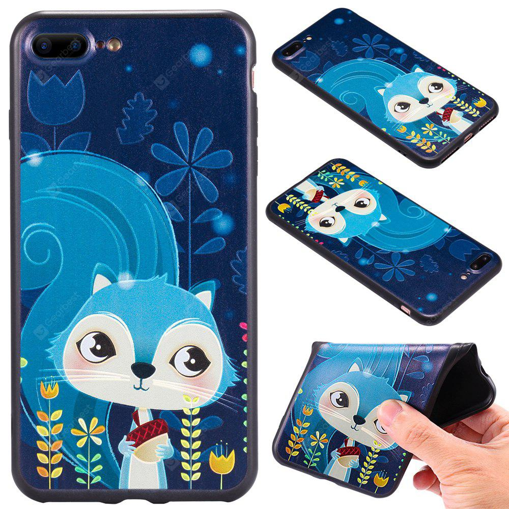 3D Embossed Color Pattern TPU Soft Back Case iPhone 7 Plus BLUE