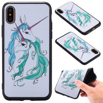 3D Embossed Color Pattern TPU Soft Back Case for iPhone X