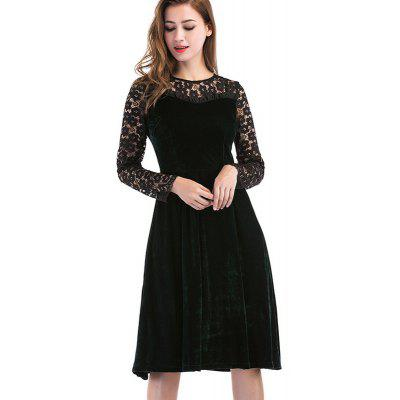 Long Sleeves Round Neck Lace Stitching Slim Dress