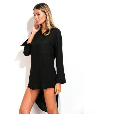 V Collar Long Tail ShirtBlouses<br>V Collar Long Tail Shirt<br><br>Collar: V-Neck<br>Elasticity: Nonelastic<br>Embellishment: Button<br>Fabric Type: Chiffon<br>Material: Polyester<br>Package Contents: 1 x Shirt<br>Pattern Type: Solid<br>Shirt Length: X-Long<br>Sleeve Length: Full<br>Style: Elegant<br>Weight: 0.1800kg