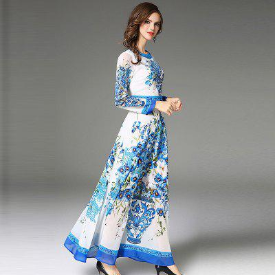 Fashion Slim DressMaxi Dresses<br>Fashion Slim Dress<br><br>Dresses Length: Ankle-Length<br>Elasticity: Nonelastic<br>Fabric Type: Chiffon<br>Material: Polyester<br>Neckline: Round Collar<br>Package Contents: 1 x Dress<br>Pattern Type: Print<br>Season: Fall, Spring, Winter<br>Silhouette: A-Line<br>Sleeve Length: Long Sleeves<br>Style: Bohemian<br>Waist: Natural<br>Weight: 0.4200kg<br>With Belt: No