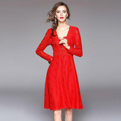 Square Neck Long Sleeves Lace DressWomens Dresses<br>Square Neck Long Sleeves Lace Dress<br><br>Dresses Length: Knee-Length<br>Elasticity: Elastic<br>Embellishment: Hollow Out<br>Fabric Type: Dobby<br>Material: Cotton<br>Neckline: Square Collar<br>Package Contents: 1 x Dress<br>Pattern Type: Solid<br>Season: Fall, Spring<br>Silhouette: Ball Gown<br>Sleeve Length: Long Sleeves<br>Style: Cute<br>Waist: Natural<br>Weight: 0.4000kg<br>With Belt: No
