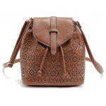 Hollow Out Solid Color Draw Crossbody Bag - BROWN