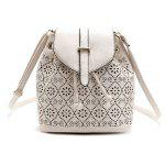 Hollow Out Solid Color Draw Crossbody Bag - BEIGE