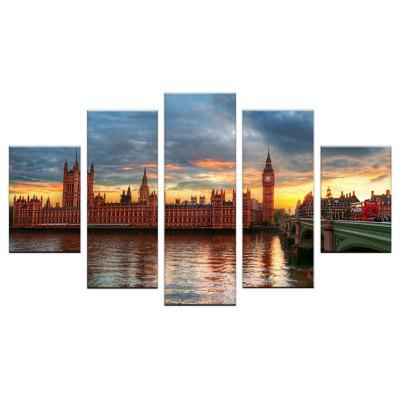 Yhhp 5 Panels Landscape of Architectural Bridge Picture Print Modern Wall Art On Canvas Unframed