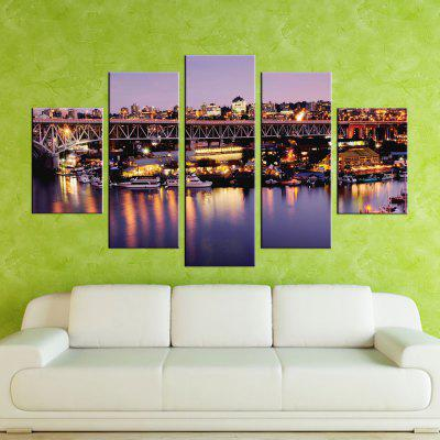 Yhhp 5 Panels Busy Night Scene Picture Print Modern Wall Art On Canvas Unframed
