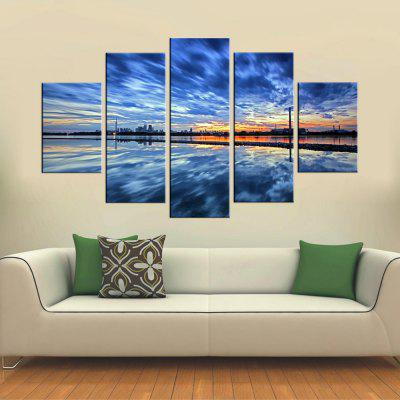 Yhhp 5 Panels Blue Sky Picture Print Modern Wall Art On Canvas Unframed