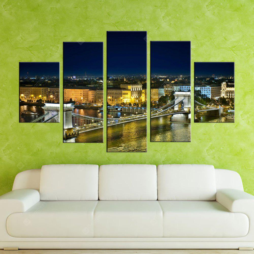 Yhhp 5 Panels Bridge Night View Picture Печать Современное искусство на холсте Unframed