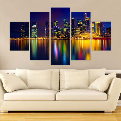 Yhhp 5 Panels Night Scene with Bright Lights Picture Print Modern Wall Art On Canvas Unframed
