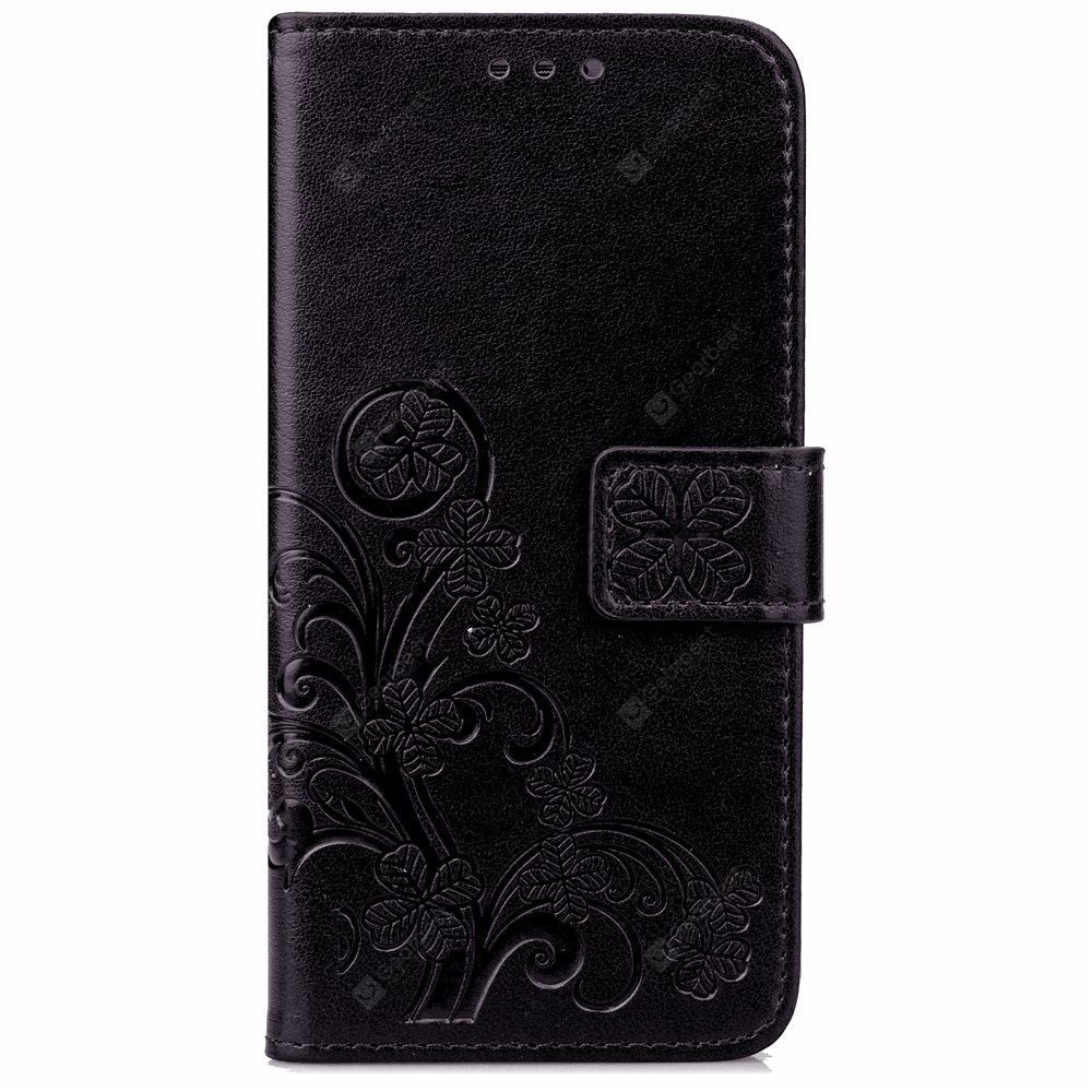 Yc Lucky Clover Holster Leaf Card Lanyard Pu Leather Case for Samsung S6