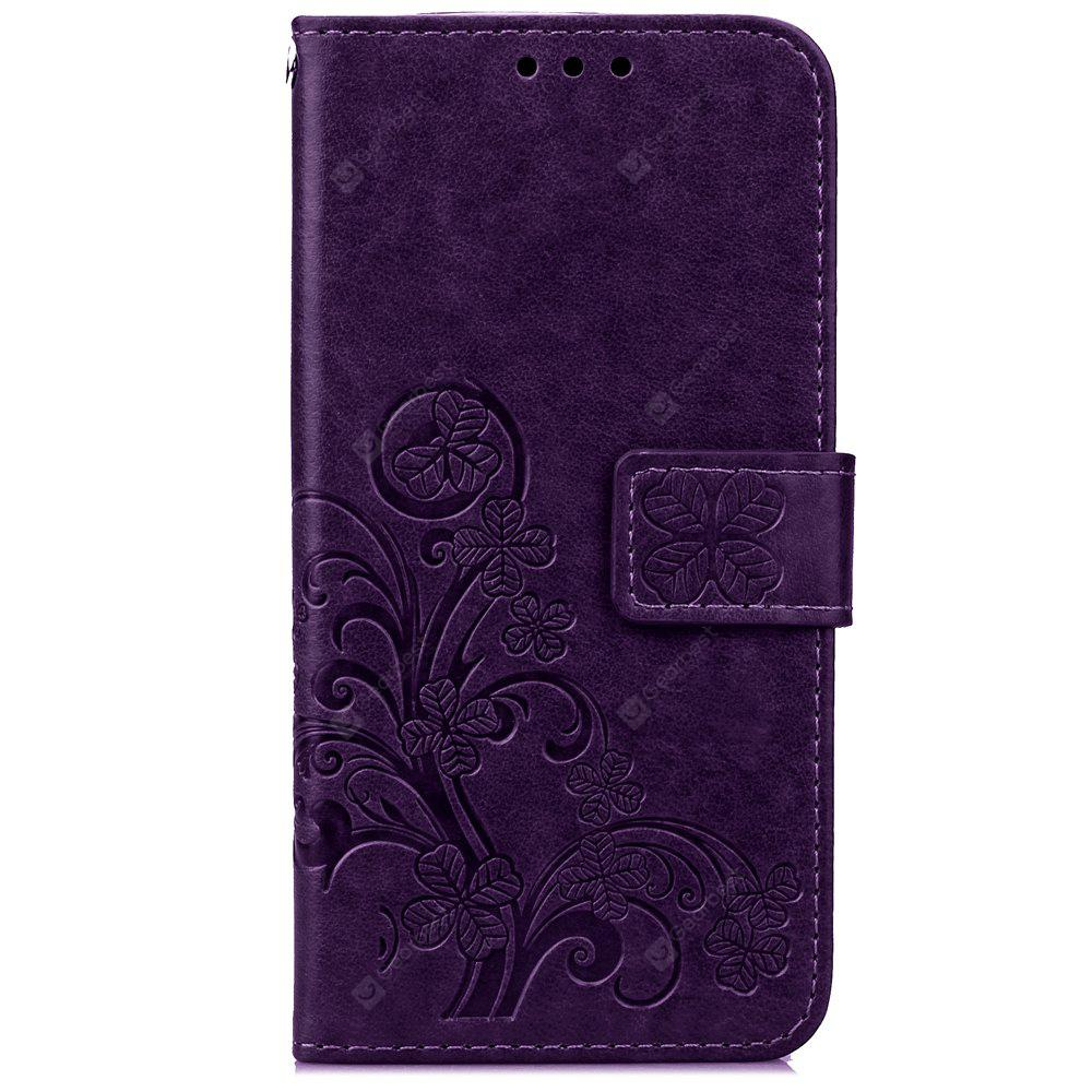 Yc Lucky Clover Holster Leaf Card Lanyard Pu Leather Case for Samsung S5
