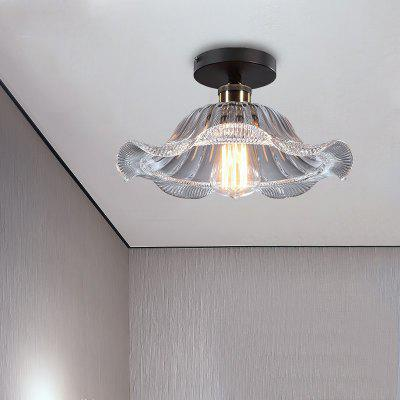 Buy TRANSPARENT Lanshi country Classical Creative Glass Ceiling Lamp Aisle Hall Lotus Leaf Lighting D-8034 for $72.65 in GearBest store