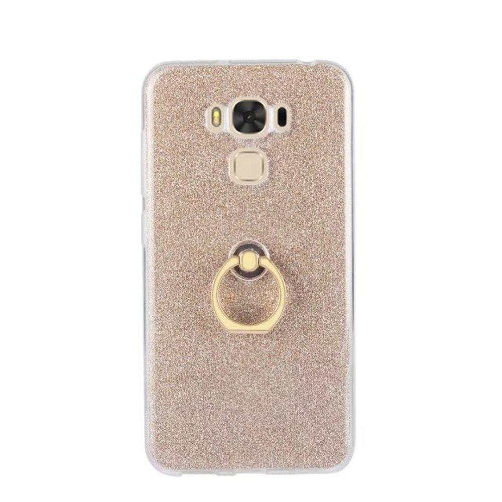 Wkae Soft Flexible TPU Back Cover Case Shockproof Protective Shell with Bling Glitter Sparkles and Kickstand for Asus ZC553KL ZenFone 3 MAX