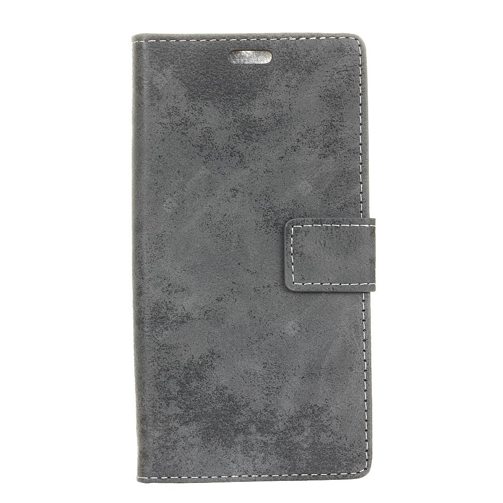Durable Retro Style Solid Color Flip PU Leather Wallet Case for Vodafone Smart V8