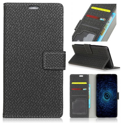 Woven Pattern Flip Front Buckle Pu Leather Wallet Case for Samsung Galaxy J3 Emerge
