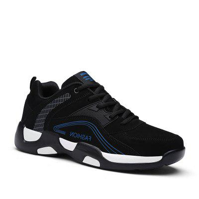 Checked Letter Printed Color Block Athletic Shoes