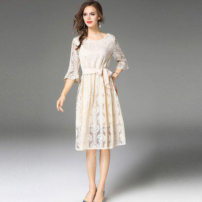Trumpet Sleeves Lace DressWomens Dresses<br>Trumpet Sleeves Lace Dress<br><br>Dresses Length: Knee-Length<br>Elasticity: Micro-elastic<br>Embellishment: Sashes<br>Fabric Type: Lace<br>Material: Lace<br>Neckline: Round Collar<br>Package Contents: 1 x Dress<br>Pattern Type: Solid<br>Season: Summer, Spring, Fall<br>Silhouette: A-Line<br>Sleeve Length: Half Sleeves<br>Sleeve Type: Flare Sleeve<br>Style: Elegant<br>Waist: Natural<br>Weight: 0.3400kg<br>With Belt: Yes