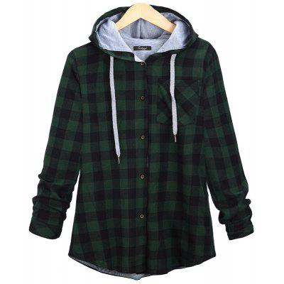 Buy GREEN S Plus Size Checkered Long-Sleeved Shirt for $23.65 in GearBest store