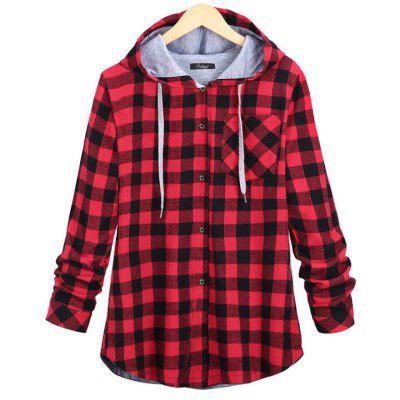 Buy RED WITH BLACK L Plus Size Checkered Long-Sleeved Shirt for $23.65 in GearBest store