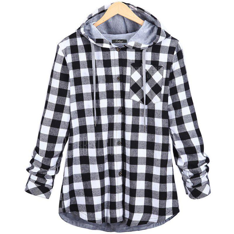 Plus Size Checkered Long-Sleeved Shirt