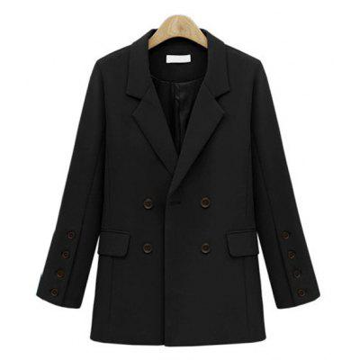 Solid Color Double Breasted Blazer