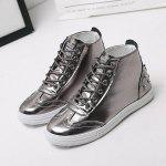 Buy 2017 New Autumn High Help Womens Shoes Rivet Casual 37 SILVER